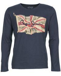 Pepe Jeans T-shirt Lange Mouw Flag Logo Ls - Blauw