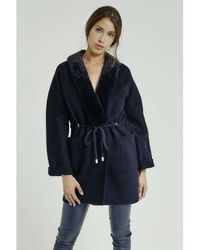 Max & Moi - Coat Nymphea Navy Blue Woman Autumn/winter Collection Women's Coat In Blue - Lyst