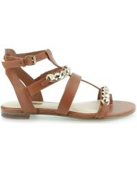 Guess - Frainee Sandalo Leather Lugga Women's Sandals In Brown - Lyst