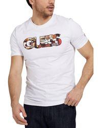 Guess - Tee Shirt Slim Col Rond Logo Frontal Photoshow T-shirt - Lyst