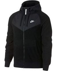 f652ad19a9421 Nike - M Nsw Hoodie Fz Core Windrunner Men s Sweatshirt In Black - Lyst