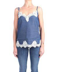 Pink Memories 11030 dèbardeurs Femme Denim Blouses - Bleu