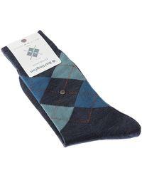Burlington Chaussettes Niveau mollet - Laine - Edinburgh hommes Chaussettes en bleu
