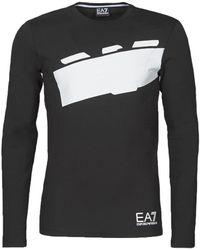 EA7 T-shirt Lange Mouw Train Graphic Series M Eagle Tee Ls - Zwart