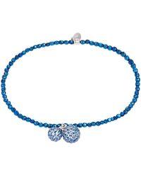 Cleor Bracelets Bracelet en Argent 925/1000 et Hématite Bleue - Blanc
