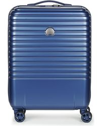 Delsey - Caumartin Plus Valise Trolley Cabine Slim 4 Doubles Roues 55 Cm Men's Hard Suitcase In Blue - Lyst