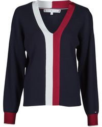 Tommy Hilfiger Maglione Global Stripe V-Nk Sweater - Blu