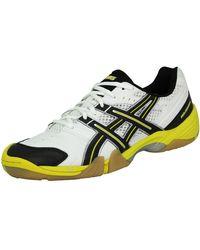 Asics GEL DOMAIN Chaussures de Handball Homme Blanc Noir Jaune Chaussures