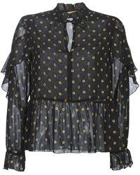 Maison Scotch Blouse Sheer Printed Top With Ruffles - Zwart