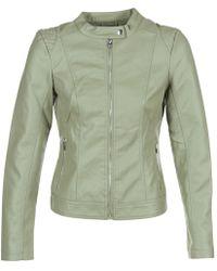 Vila - Viaya Women's Leather Jacket In Green - Lyst