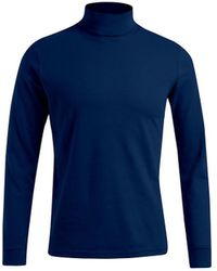 Promodoro T-shirt manches longues col tortue grandes tailles Hommes T-shirt - Bleu