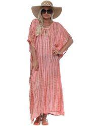 HOT LAVA Poncho Coral Moonstone Maxi Kaftan Long Dress - Pink