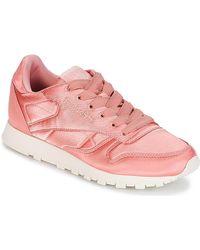 Reebok CLASSIC LEATHER SATIN femmes Chaussures en rose