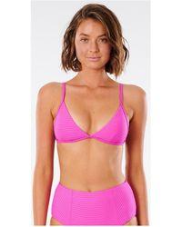 Rip Curl Haut de bikini Triangle fixe Premium Surf Banded Maillots de bain - Rose