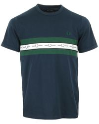 Fred Perry Taped Chest T-Shirt - Azul