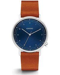 Komono Horloge Lewis Blue Cognac - Blauw