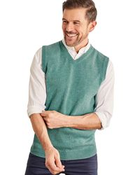 Woolovers Pull sans manches Homme Cachemire Mérinos Pull - Vert