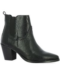 So Send Boots Boots cuir iguane - Noir