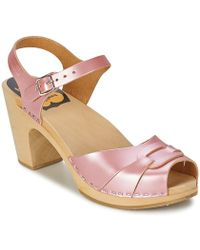 Swedish Hasbeens - Peep Toe Super High Women's Sandals In Pink - Lyst