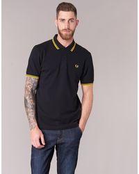 Fred Perry Shirt negro brillante amarillo amarillo brillante M 3600 506 s en