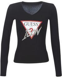 Guess T-shirt Lange Mouw Ls Rn Icon Tee - Zwart