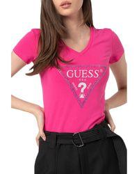 Guess - T-shirt Tee shirt femme à détail strass - Lyst