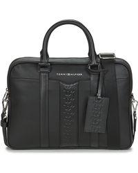 Tommy Hilfiger Aktetassen Leather Computer Bag - Zwart