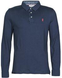 Vicomte A. Polo Shirt Lange Mouw Portroll - Blauw