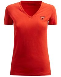 Guess Tee Shirt Slim Stretch Col En V Mini Triangle T-shirt - Rouge