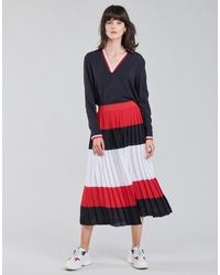 Tommy Hilfiger Gonna Crepe Pleated Midi Skirt - Rosso