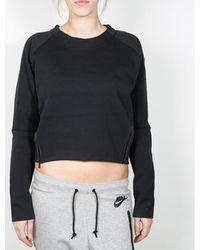 Nike Pullover Wmns Tech Fleece Aeroloft Crew - Black / Black - Schwarz