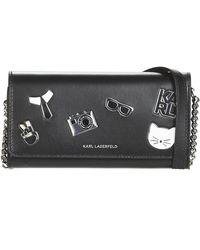 Karl Lagerfeld Portemonnees K/studio Tweed Wallet On Chain - Zwart