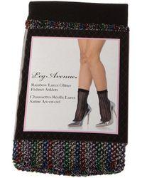 Leg Avenue Socken Strumpfsöckchen - Nylon - Rainbow fishnet glitter anklets - Schwarz