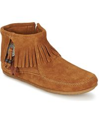 Minnetonka Laarzen Concho Feather Side Zip Boot - Bruin