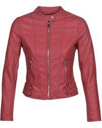 682032506 Kouju Women's Leather Jacket In Red