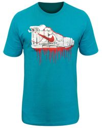 Nike Shoe Collage SS Crew Tee T-shirt - Bleu
