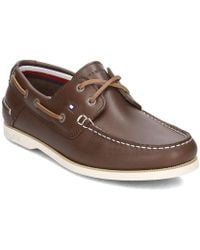 Tommy Hilfiger - Classic Leather Boatshoe Men's Boat Shoes In Brown - Lyst