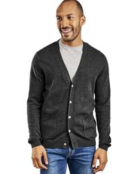 Woolovers Cashmere And Merino V Neck Cardigan - Grey