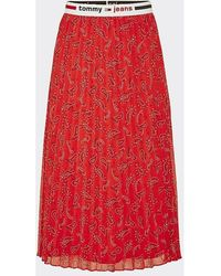 Tommy Hilfiger Jupe midi plissée motif cachemire - Rouge
