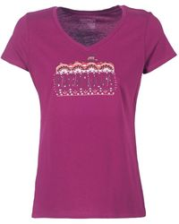 Patagonia - W's Femme Fitz Roy Cotton V-neck T-shirt Women's T Shirt In Pink - Lyst