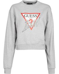 Guess ICON FLEECE Sweat-shirt - Gris