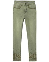 Desigual Pantalón pitillo 21SWPN15 - Verde
