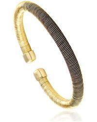 Cleor Bracelets Jonc en Argent 925/1000 Jaune et Silicone Noir