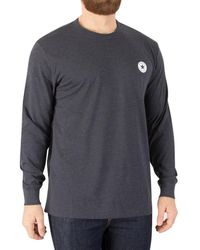 Converse - Men's Longsleeved Badge T-shirt, Blue Men's Sweater In Blue - Lyst
