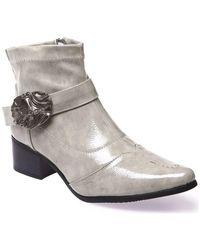 La Modeuse Boots Bottines bout pointu vernies grises