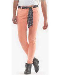 Le Temps Des Cerises Pantalon slim neon corail Pantalon - Multicolore
