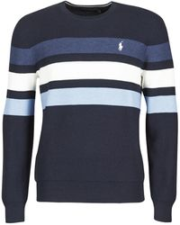 Polo Ralph Lauren Trui Pull Col Rond Texture Raye En Coton Pima Maille Texture Logo Pon - Blauw