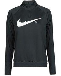 Nike T-shirt Lange Mouw Swoosh Run Hz Midlayer - Zwart