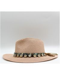 Kebello Chapeau fedora effet de paille Taille : F Rose Taille unique Chapeau