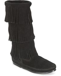 Minnetonka Laarzen Calf Hi 3 Layer Fringe Boot - Zwart